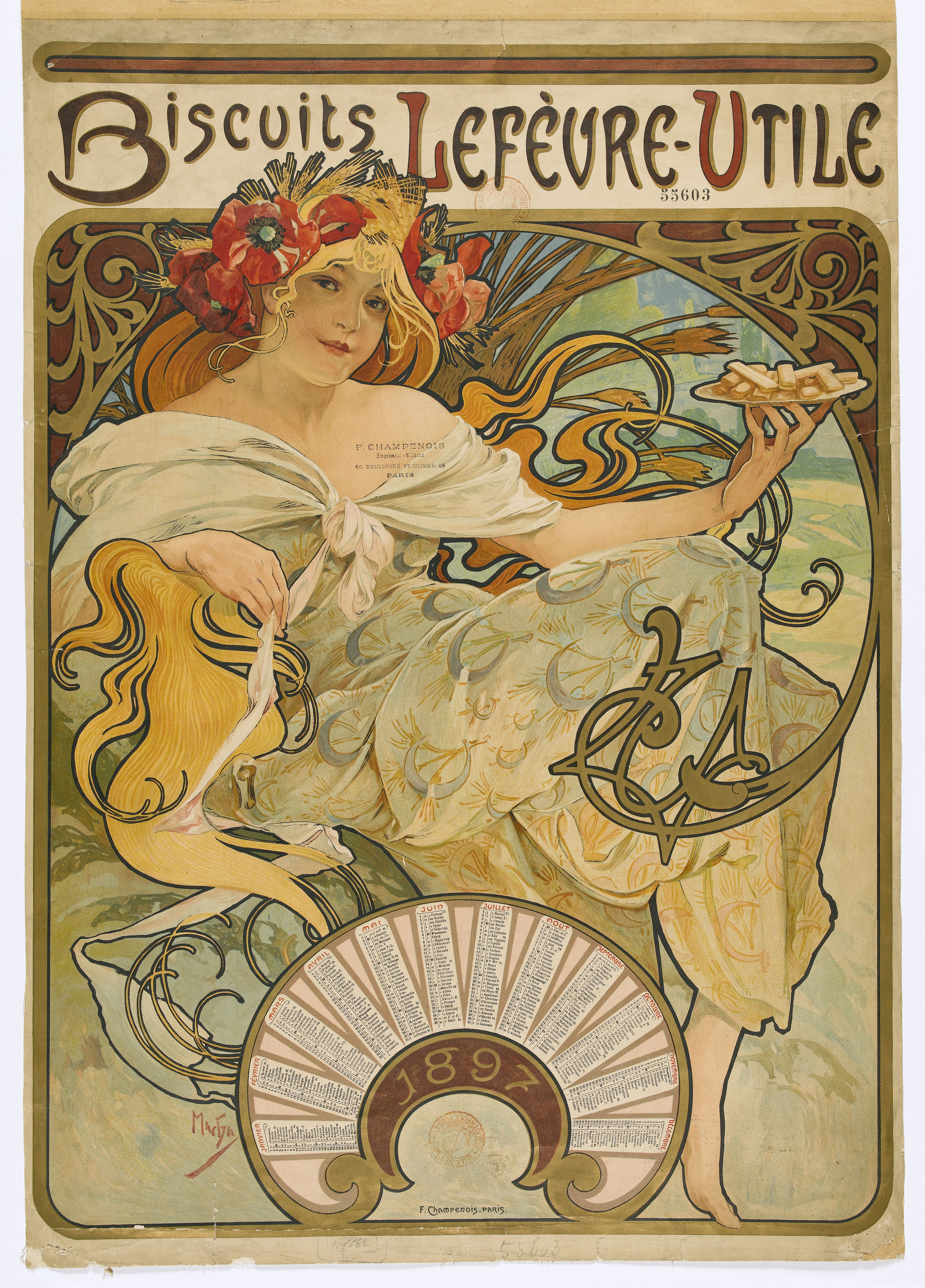 Affiche Biscuits Lefèvre-Utile Alfons Mucha