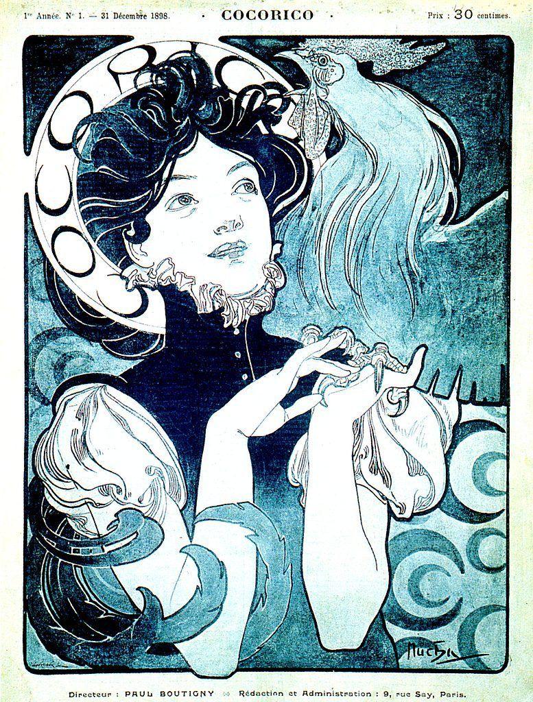 """Affiche """"Cocorico du 31 décembre 1898"""" Alfons Mucha"""