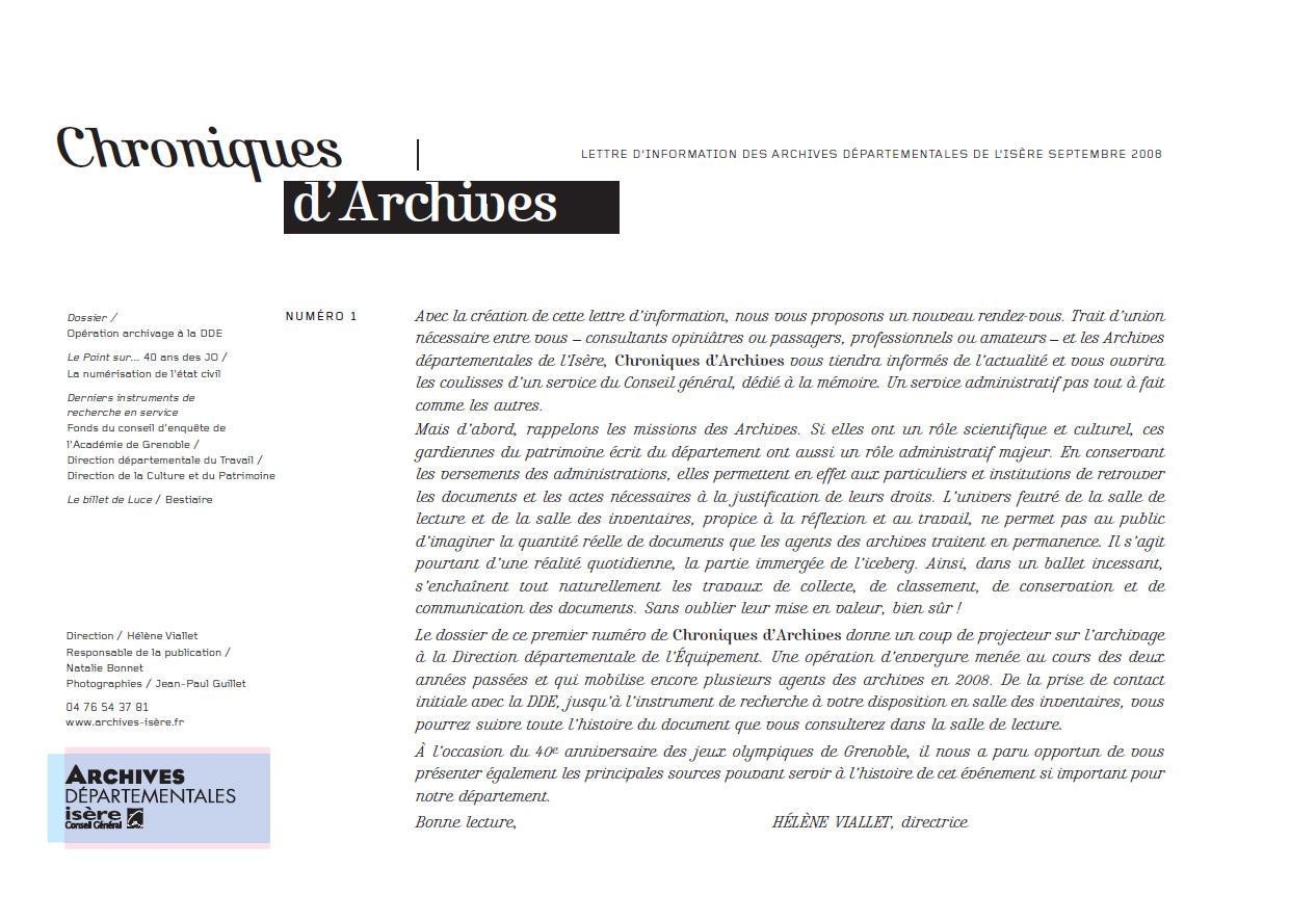 Chroniques d'Archives N°1
