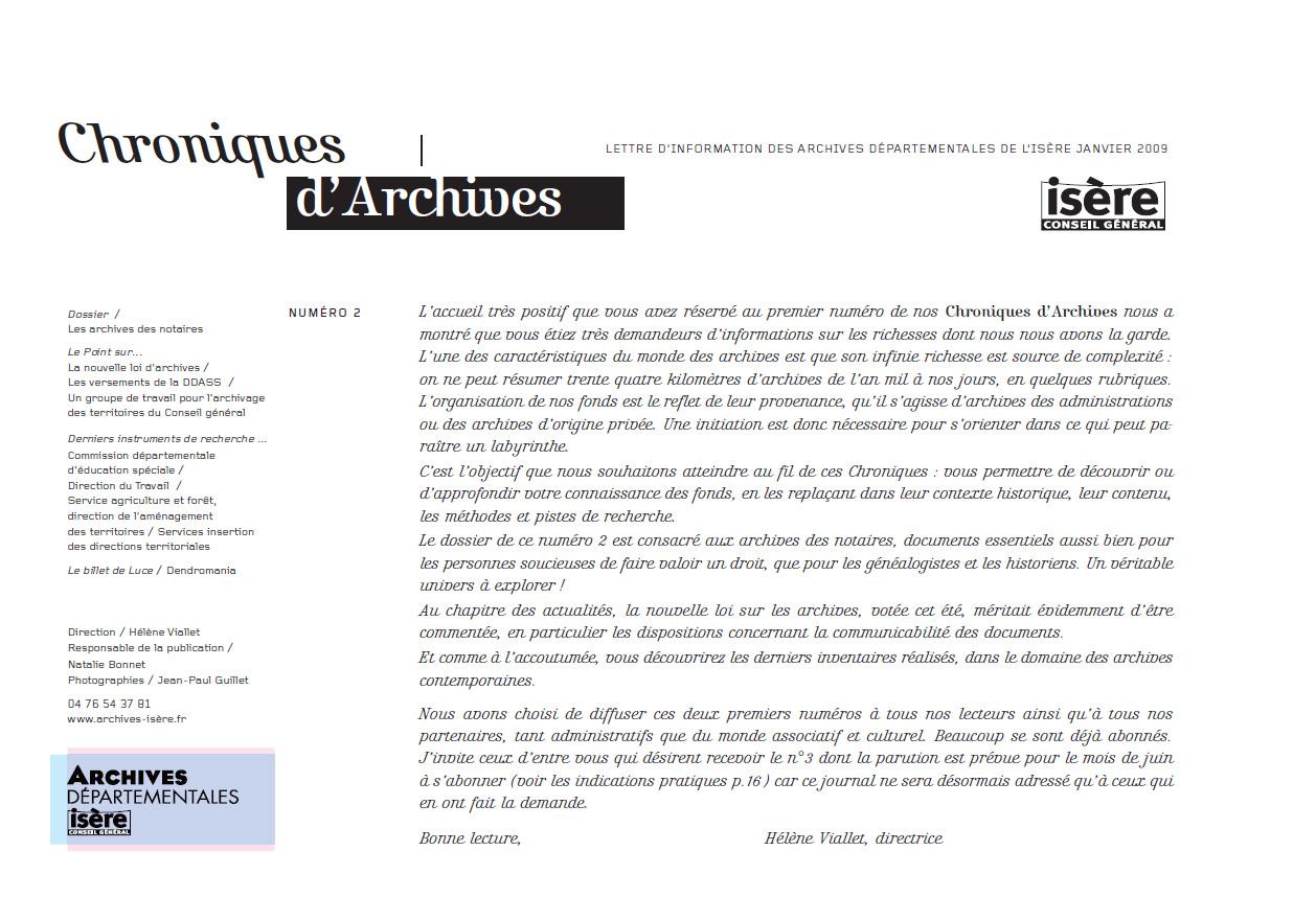 Chroniques d'Archives N°2