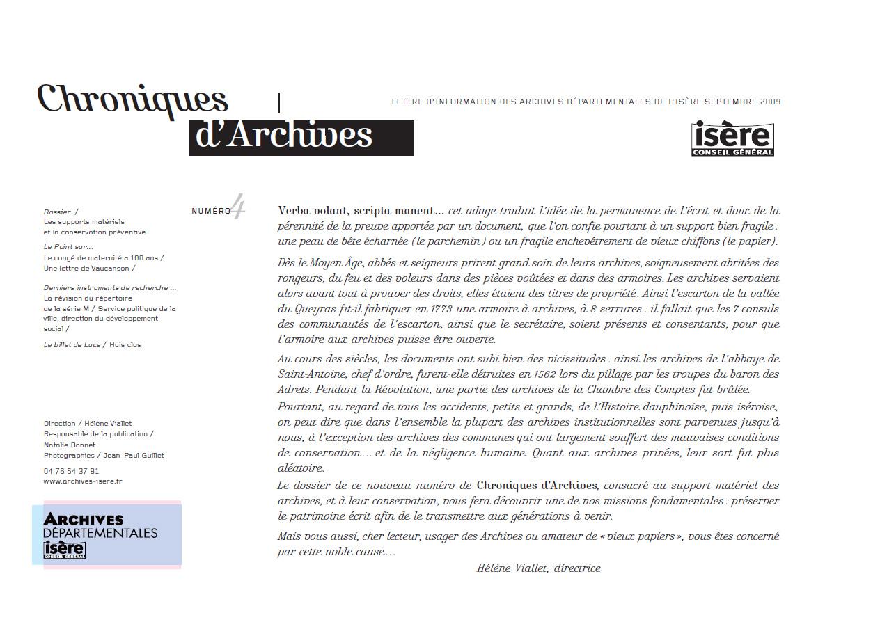 Chroniques d'Archives N°4
