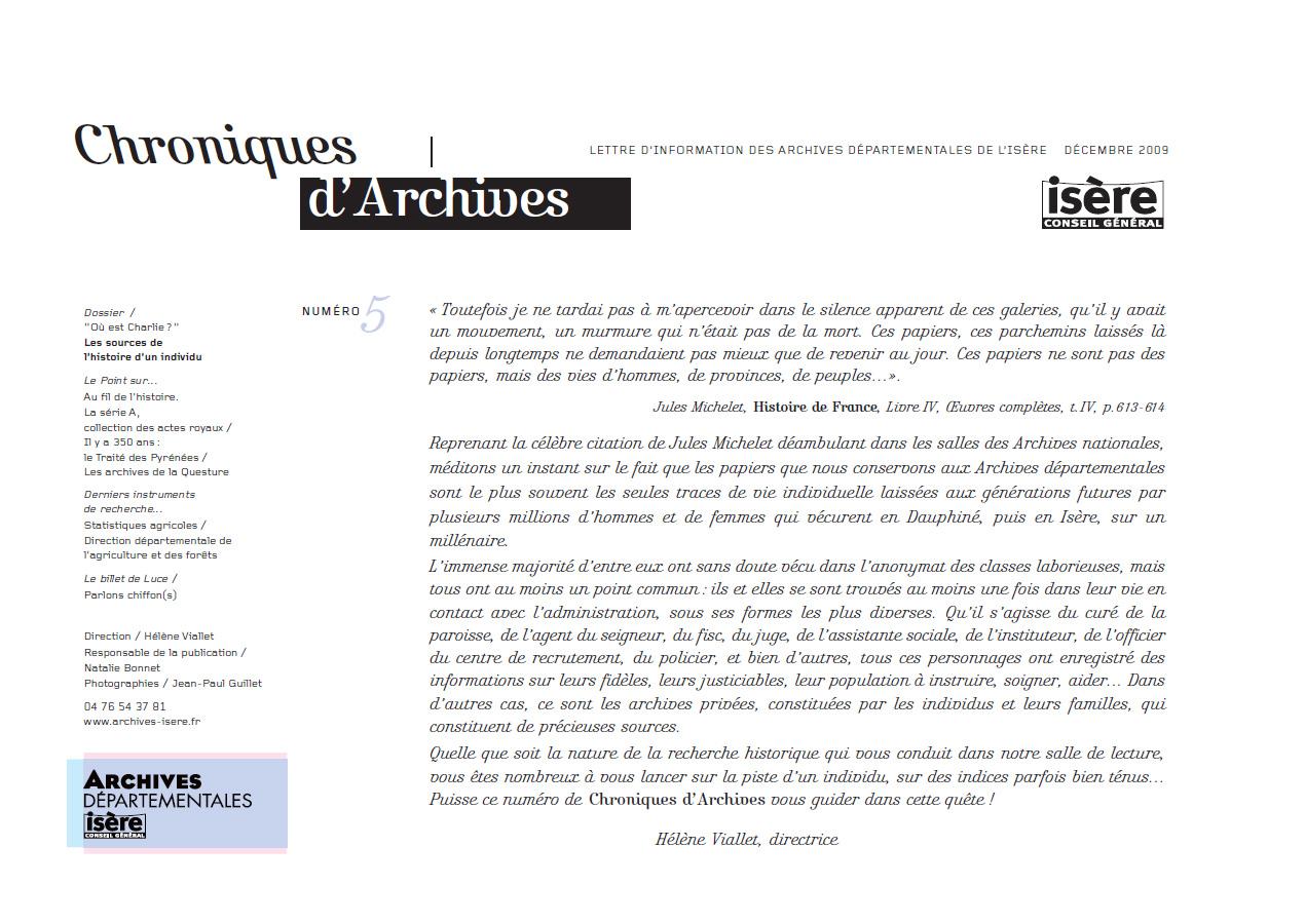 Chroniques d'Archives N°5