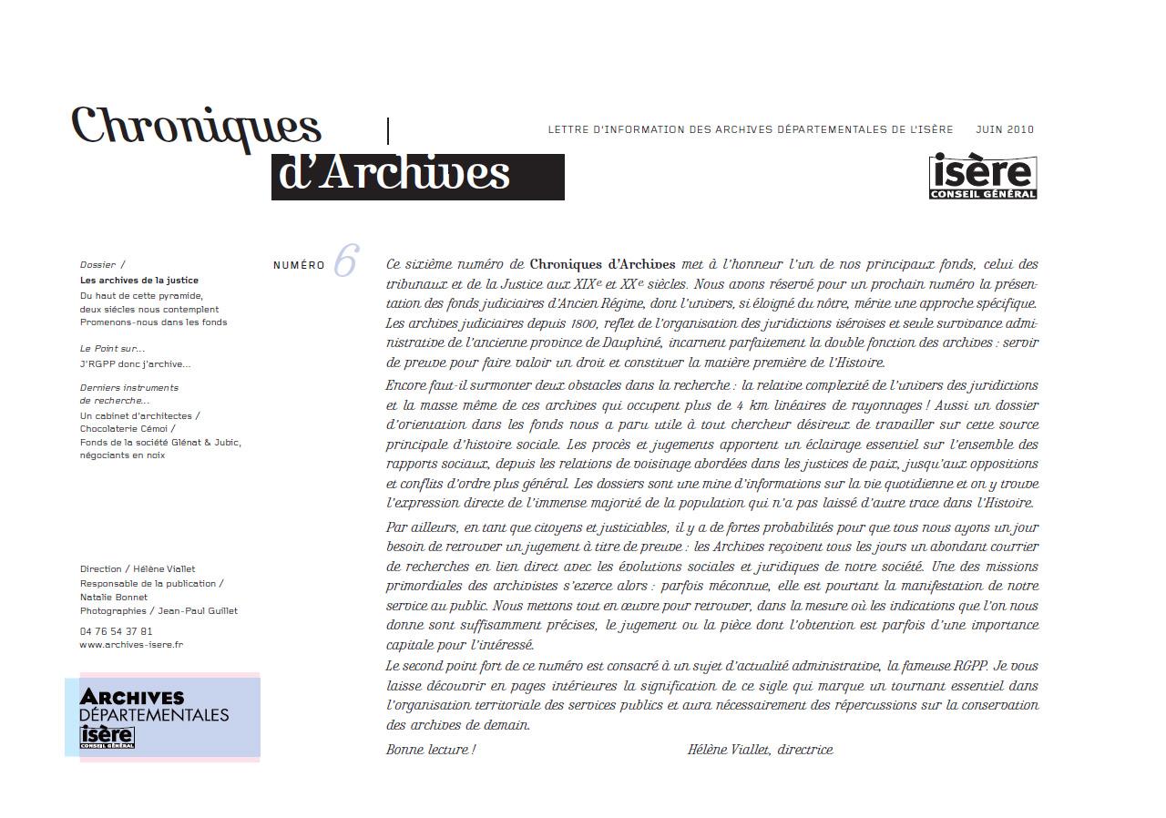 Chroniques d'Archives N°6