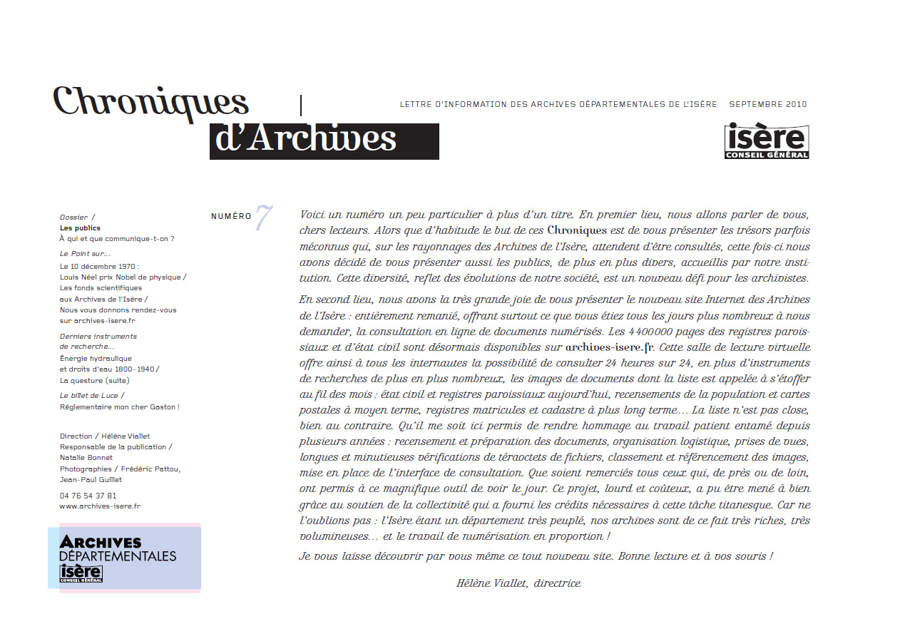 Chroniques d'Archives N°7
