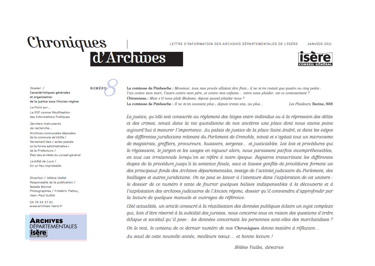 Chroniques d'Archives N°8