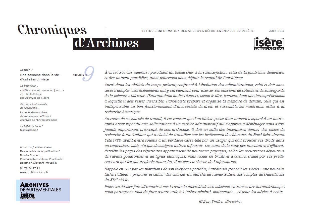 Chroniques d'Archives N°9