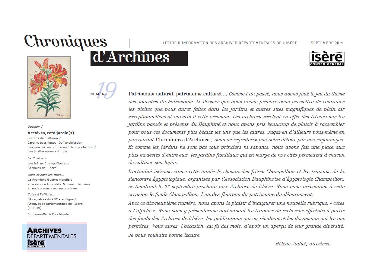 Chroniques d'Archives N°19