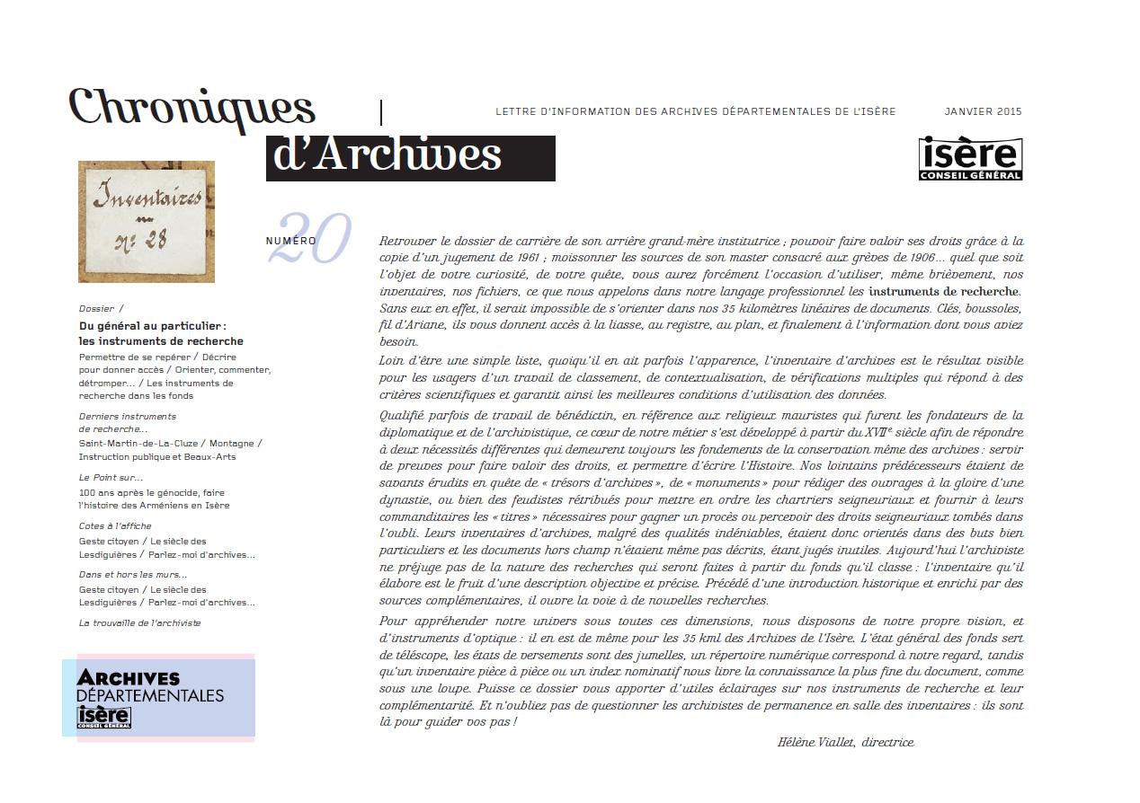 Chroniques d'Archives N°20