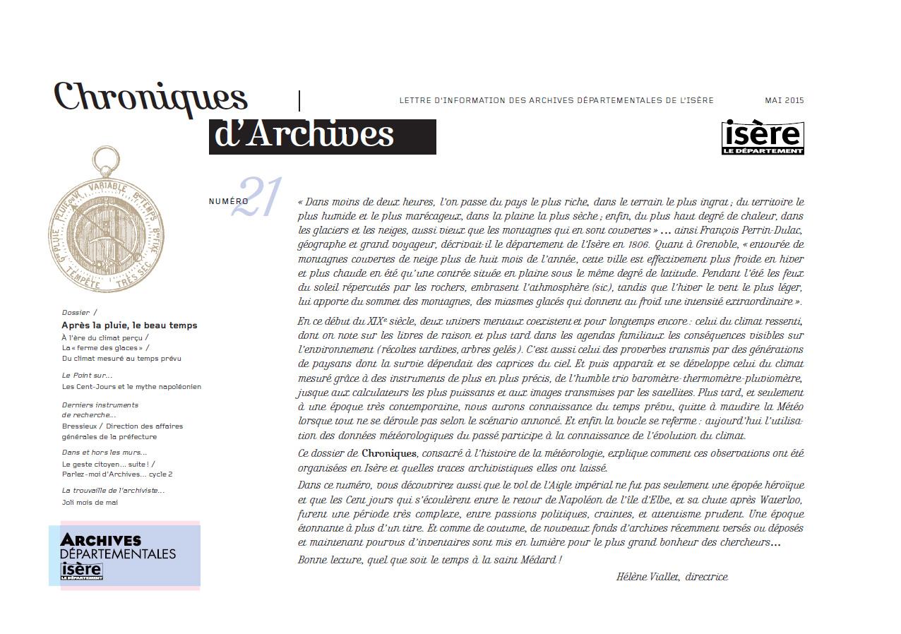 Chroniques d'Archives N°21