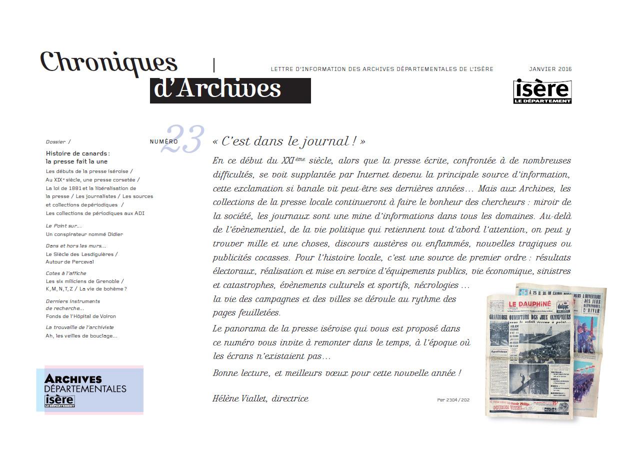 Chroniques d'Archives N°23