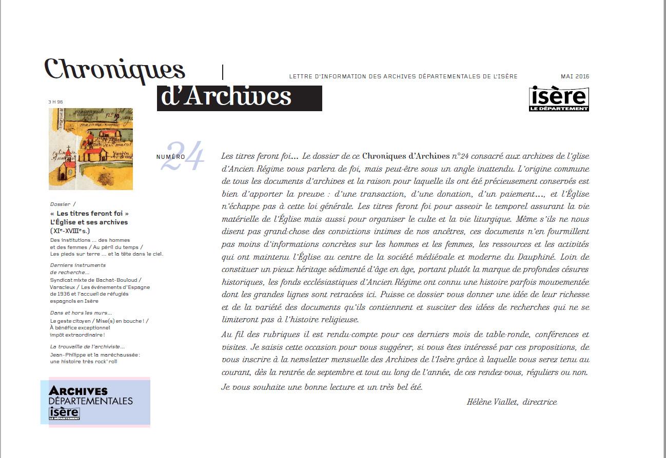 Chroniques d'Archives N°24