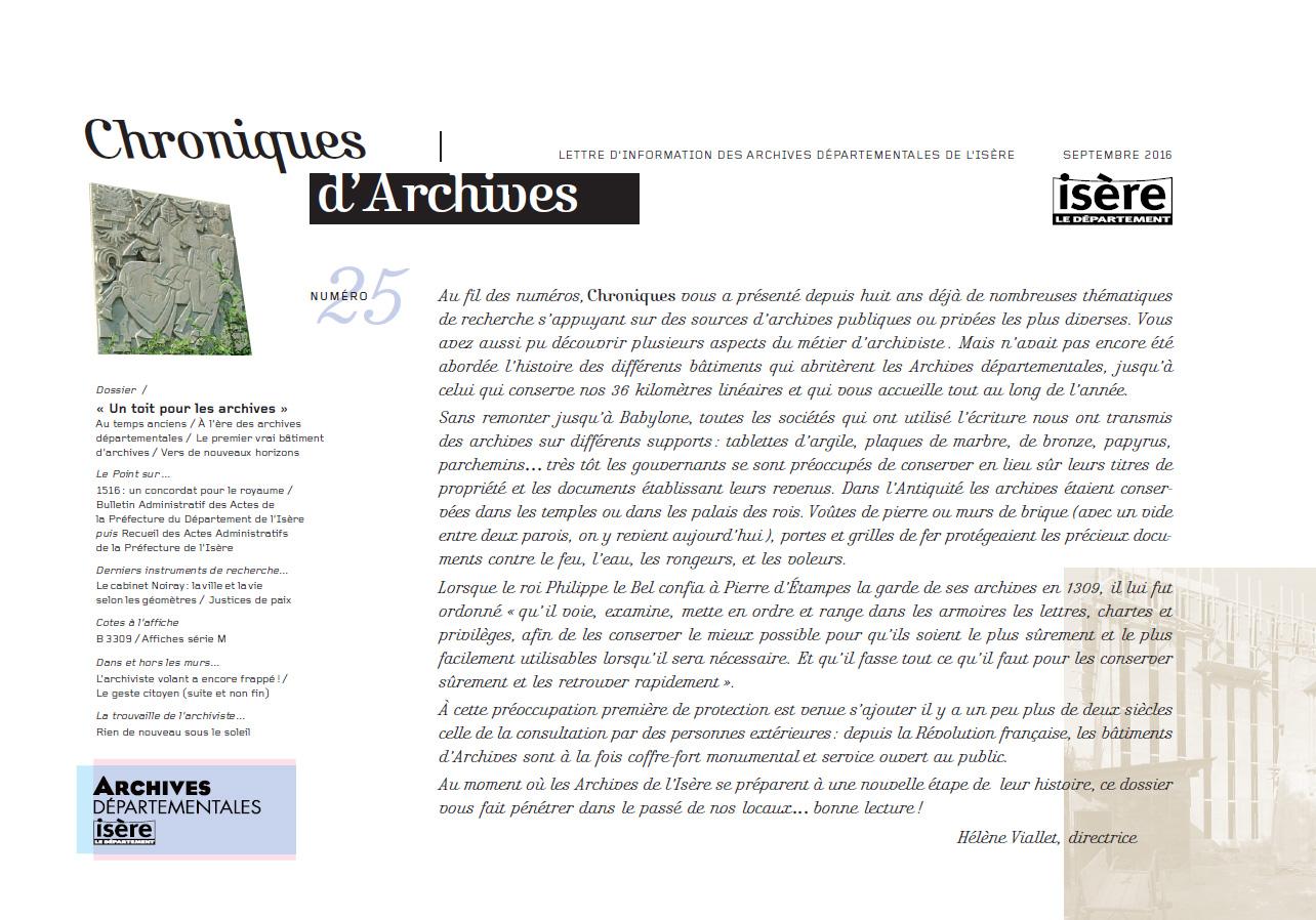 Chroniques d'Archives N°25