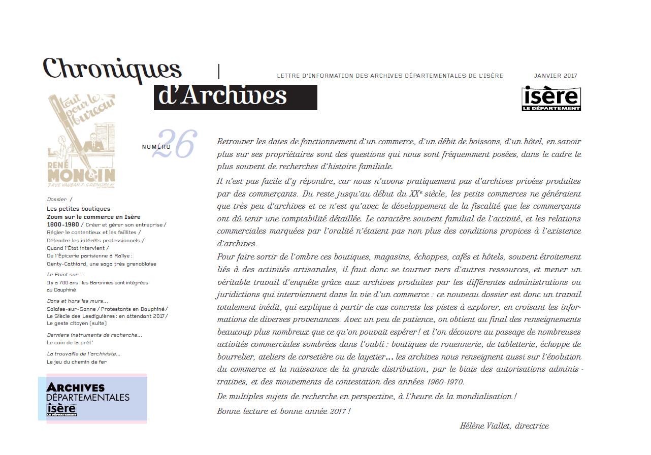 Chroniques d'Archives N°26