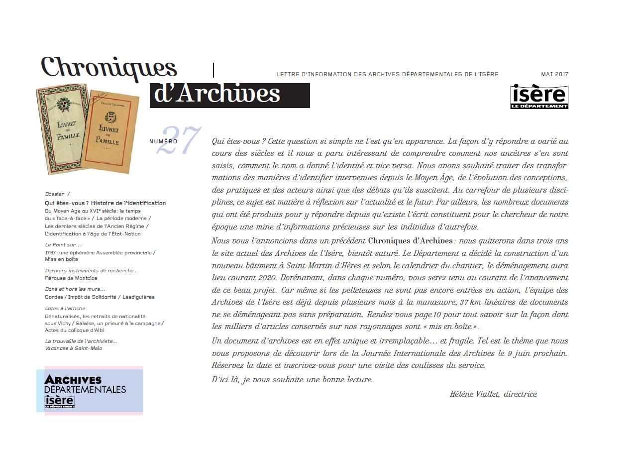 Chroniques d'Archives N°27