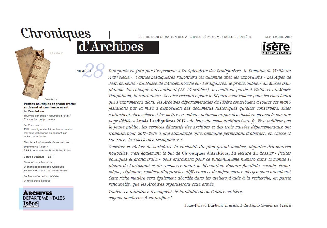 Chroniques d'Archives N°28