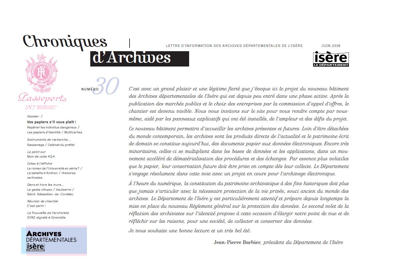 Chroniques d'Archives N°30