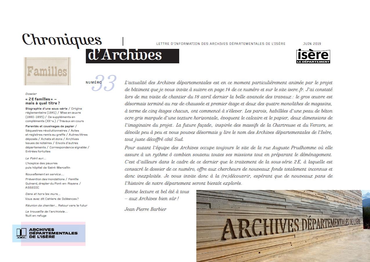 Chroniques d'Archives N°33
