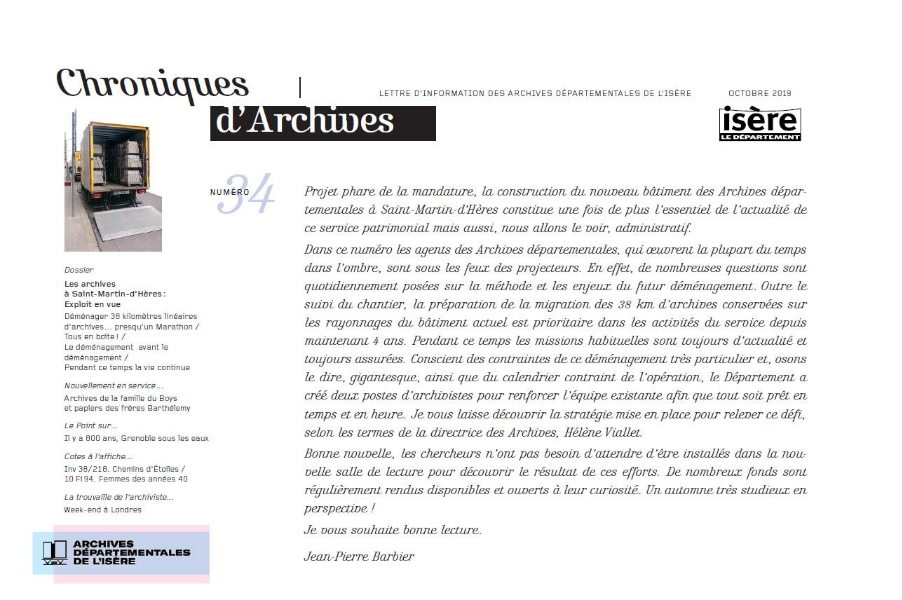 Chroniques d'Archives N°34