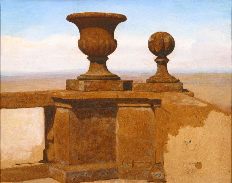 Vase et boule sur un garde-corps de terrasse, 1841