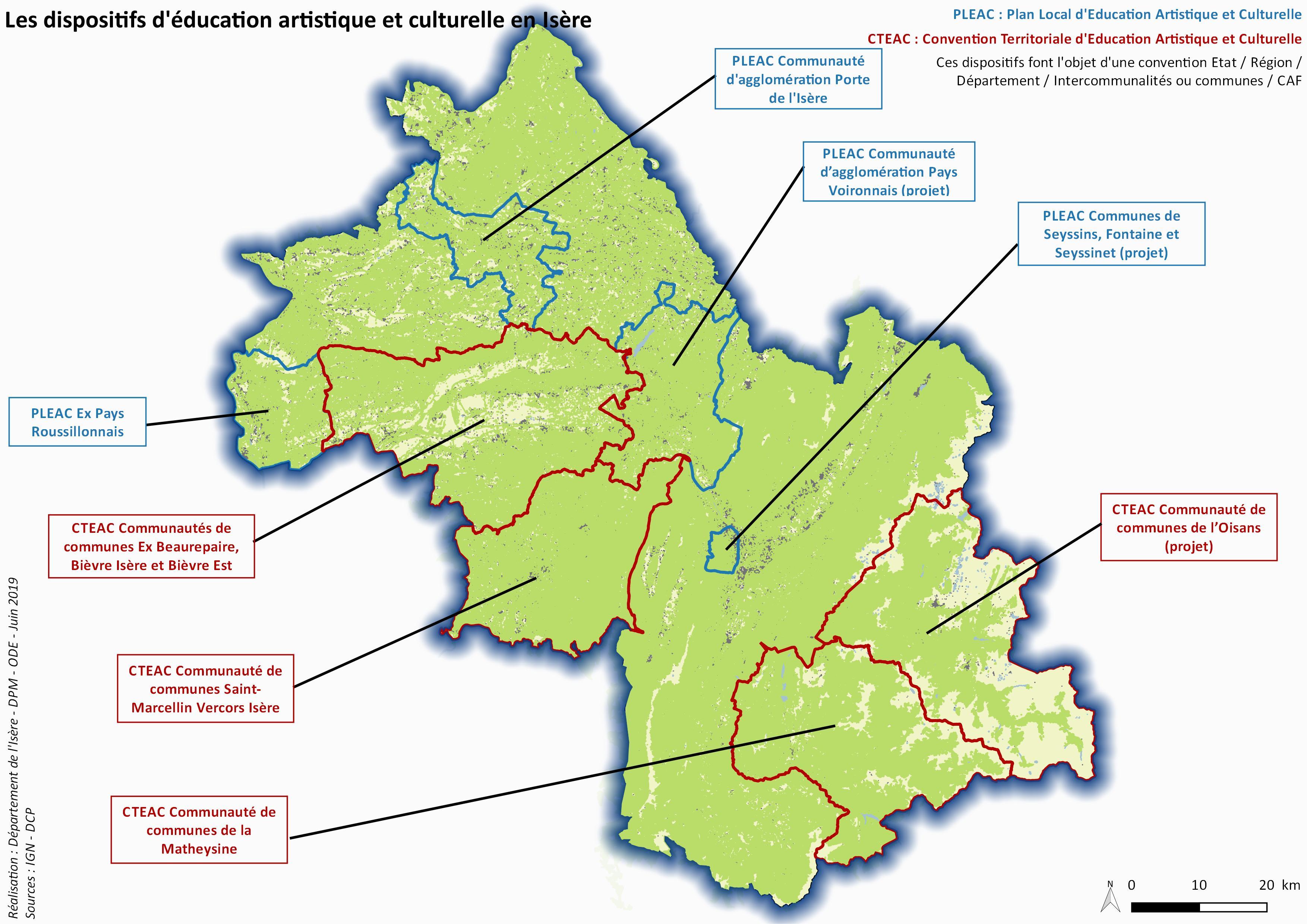 Cartographie des PLEAC/CTEAC de l'Isère