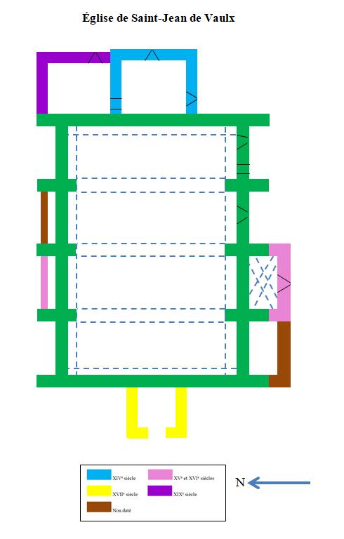 Plan de l'église de Saint-Jean-de-Vaulx et datations