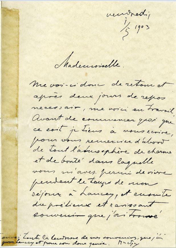 Lettre d'Alfons Mucha à Marguerite / coll. Maison Bergès
