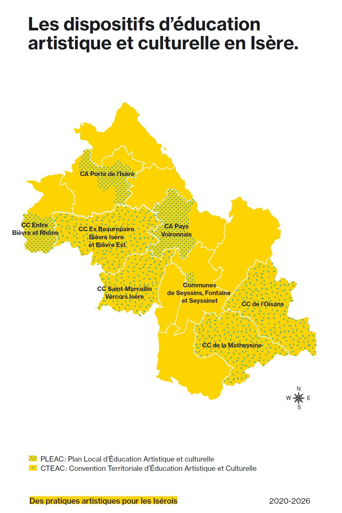 Carte des conventions partenariales d'éducation artistique et culturelle en Isère