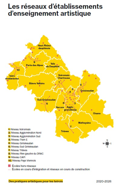 Carte des réseaux territoriaux d'établissements d'enseignement artistique en Isère