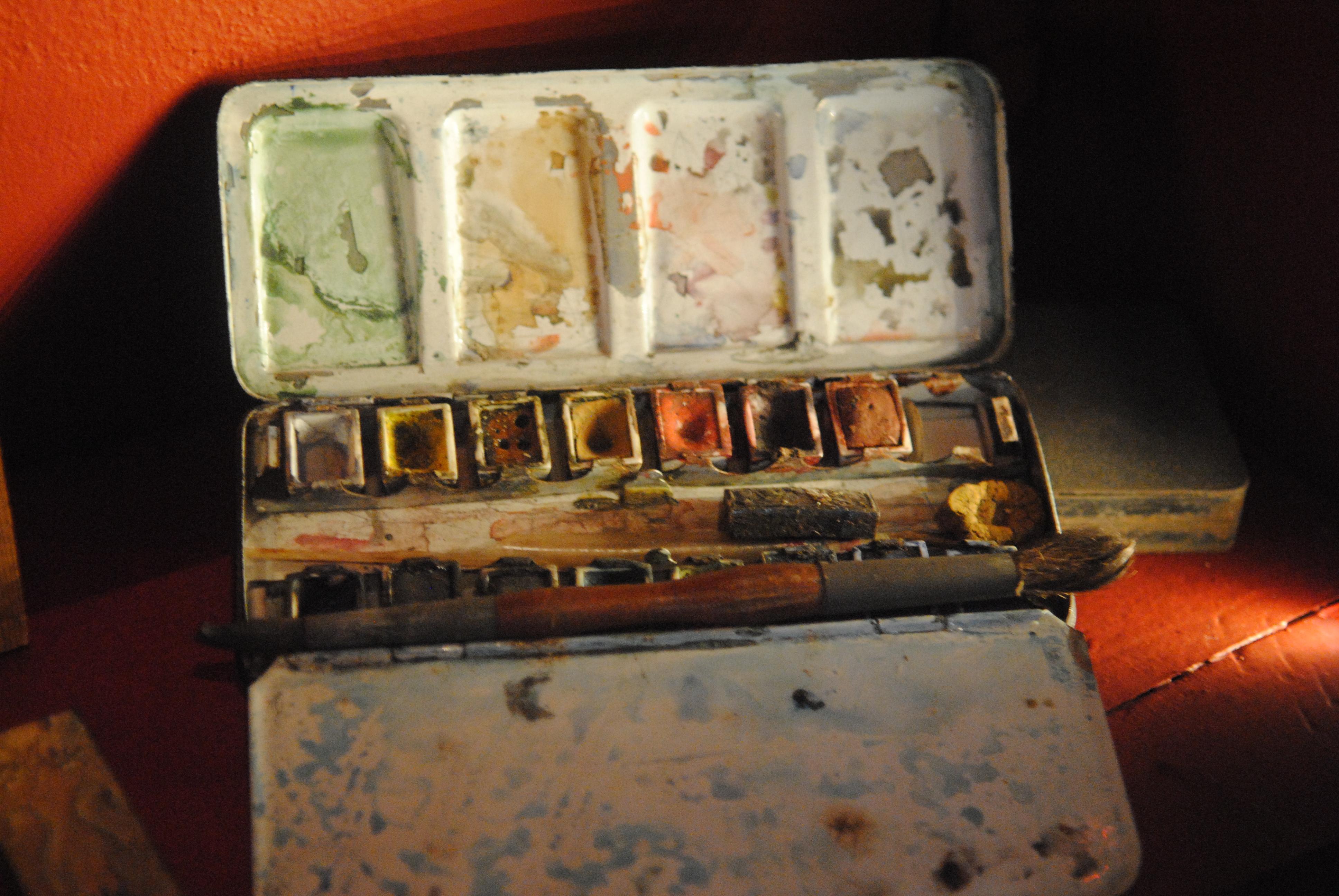 Boîte de peinture du peintre Ernest Hébert / collections musée Hébert à La Tronche