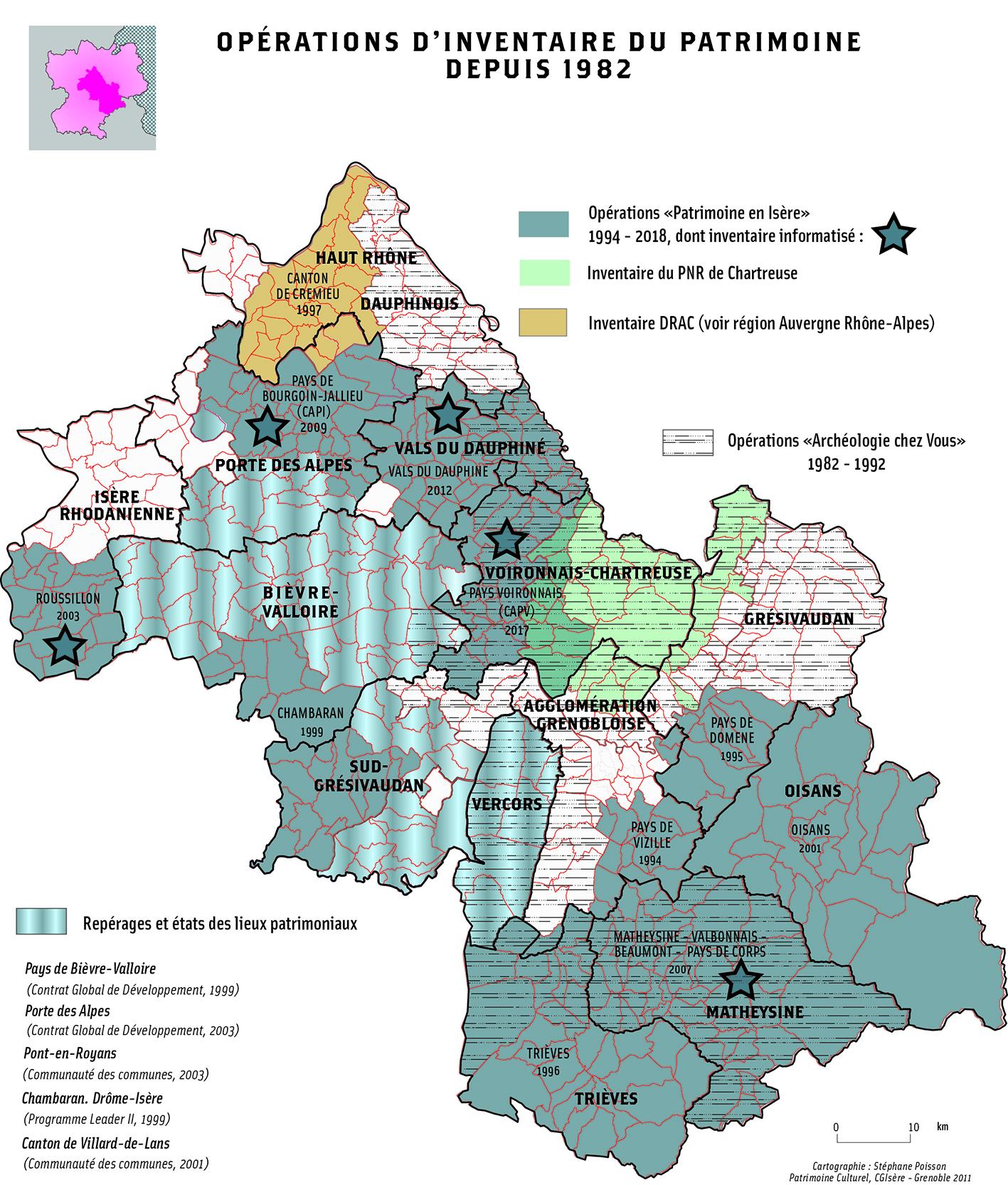 Carte des inventaires du patrimoine en Isère
