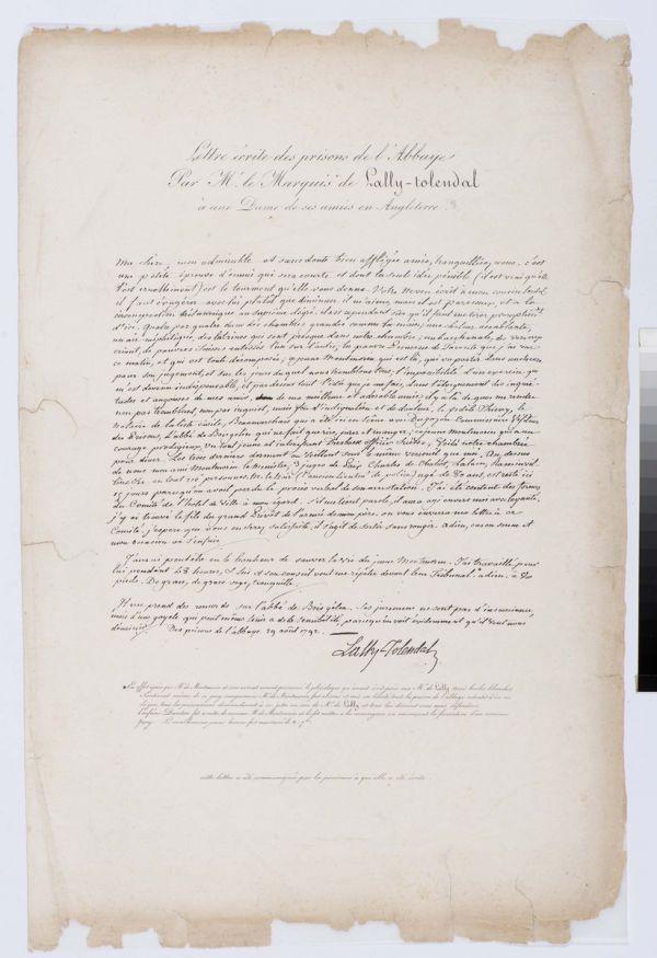 Lettre de prison du Marquis de Tolendal - Collections Musée de la Révolution française