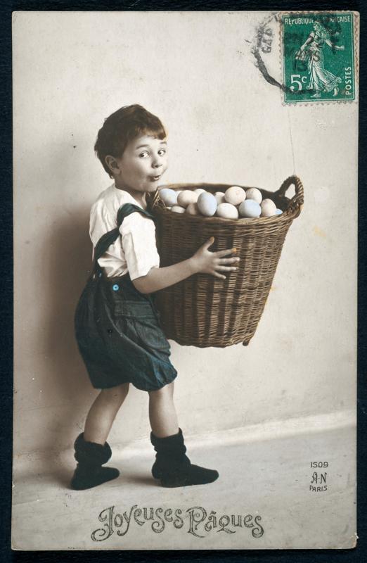 Carte postale Joyeuses Pâques de 1913 - collections Musée dauphinois