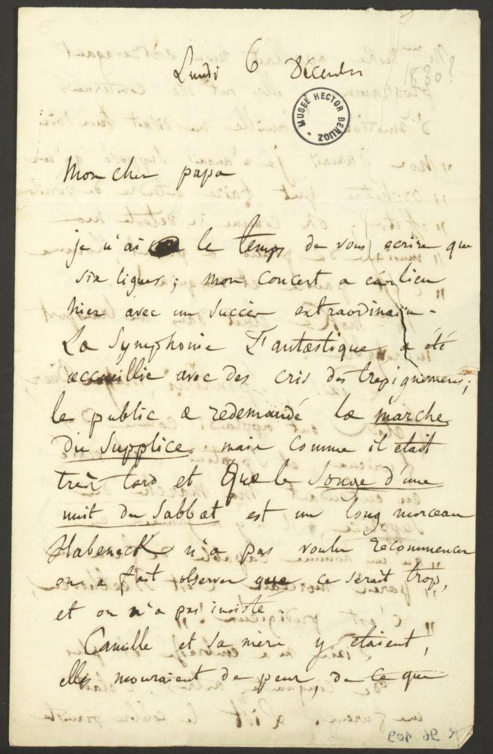 Lettre d'Hector Berlioz à son père - Collections musée Hector-Berlioz