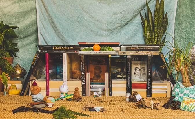 Reproduction de l'oeuvre Le Temple de Dendera de F.M. Testard par Maëva dans le cadre du challenge mondial Tussen Kunst & quarantaine