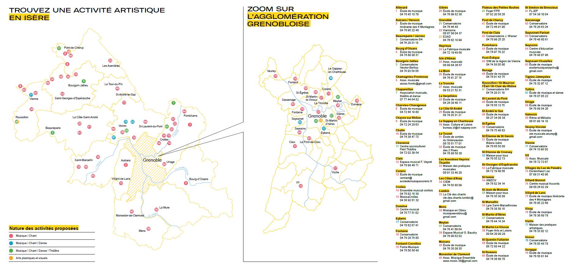 Cartographie et liste des établissements d'enseignement artistique en Isère