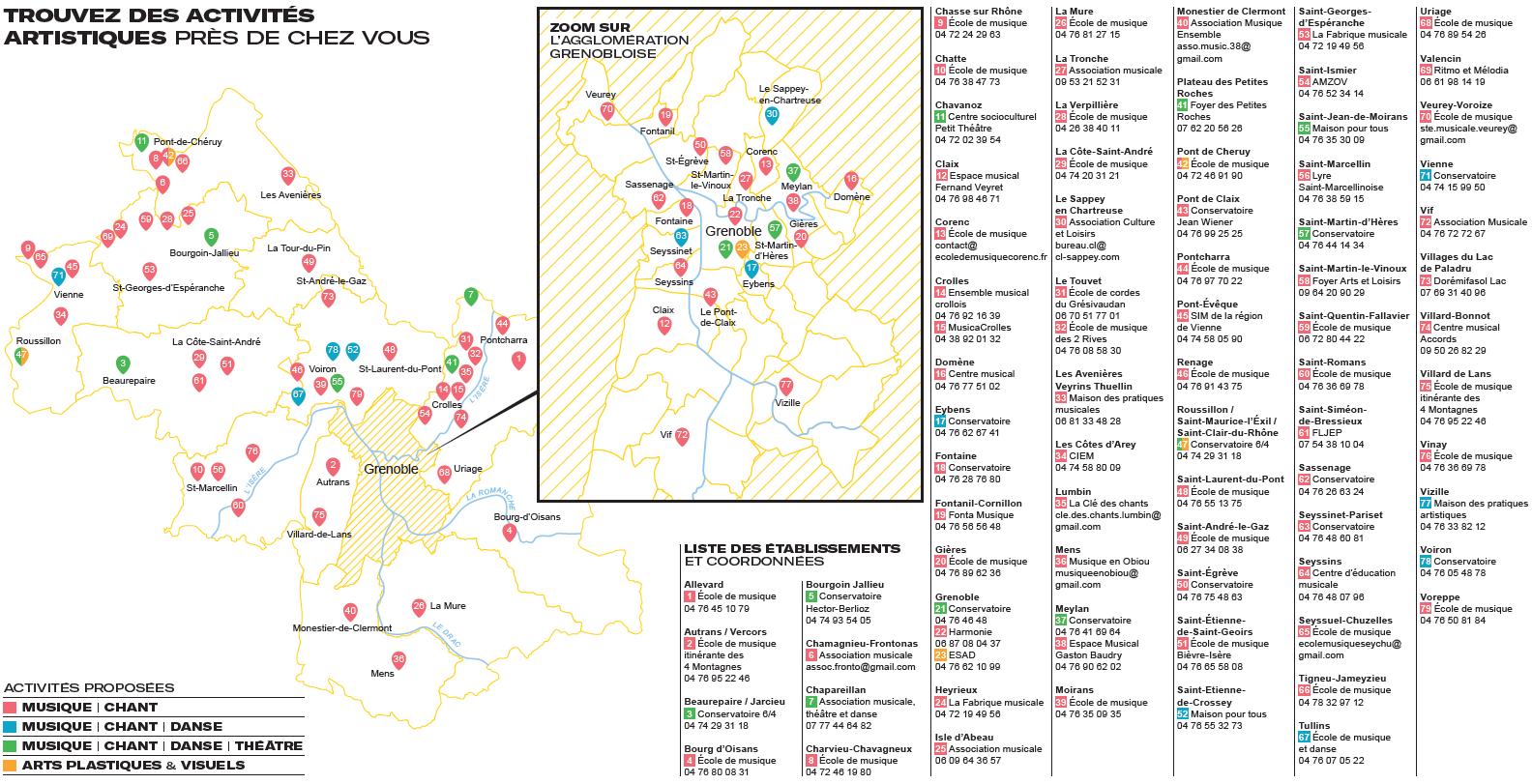 Cartographie des établissements d'enseignement artistique en Isère