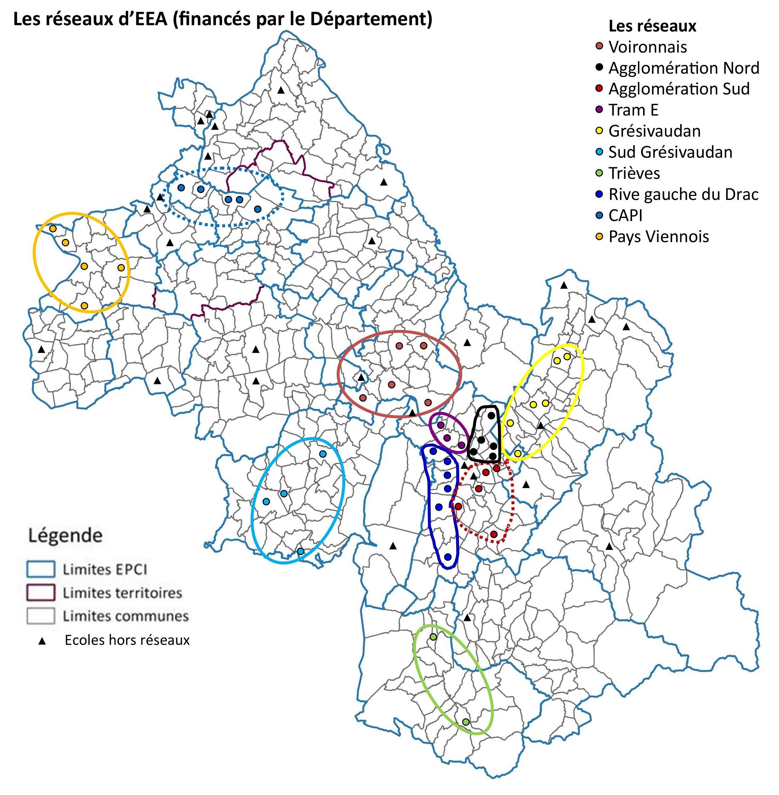 Carte des réseaux d'établissements d'enseignement artistique de l'Isère